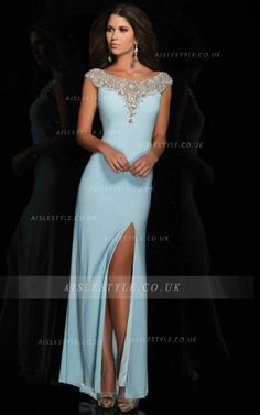 Tight Bateau Cap Sleeves Beading Split Front Sweep Train 2015 Long Jersey  Prom Dresses_1