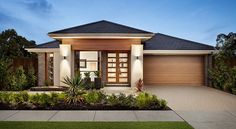 Browse the various new home designs and house plans on offer by Carlisle Homes across Melbourne and Victoria. Find a house plan for your needs and budget today! Modern Bungalow House, Modern House Facades, Modern House Design, Style At Home, Carlisle Homes, Modern Ranch, Display Homes, Mediterranean Homes, New Home Designs