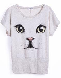 Light Grey Short Sleeve Cat Face Print T-Shirt - Sheinside.com  #SheInside #cat #catface #shirt