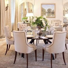 The Greenery U0026 Lovely Painting Provide A Touch Of Color To This Very Pale  Room. The Furniture, Chandelier U0026 Detailing All Contribute To Making This A  ...