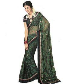MOIAA  Exquisite peacock green Net designer Saree