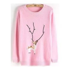SheIn(sheinside) Pink Crew Neck Sequin Moose Beaded Jumper ($22) ❤ liked on Polyvore featuring tops, sweaters, pink, pullover sweater, long sleeve pullover sweater, knit sweater, pink sequin top and christmas sweater