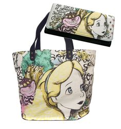 Disney's Alice in Wonderland & Cheshire Cat Oversize Tote Bag Wallet Set