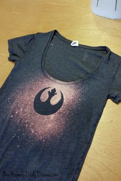 DiY Star Wars rebel bleach tee | Use any stencil to make this geeky tee shirt idea for kids and adults.