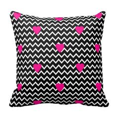 Black Chevron with Hot Pink Hearts Pillow for teen girls bedroom or any home decor #decampstudios