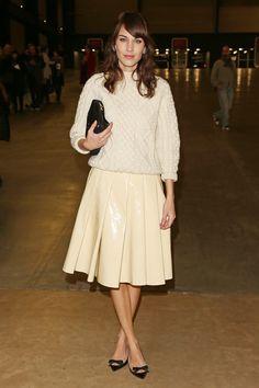 alexa-chung-jw-anderson-topshop-patent-cream-skirt-aran-sweater-lfw-fall-2013