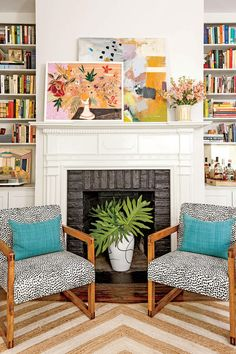 "Don't shy away from colors and prints in a smaller home. Make the most of your space with these bright ideas for small house design. When it came time for artist Lulie Wallace to decorate her 18th-century, 1,700-square-foot home, she and her architectural intern husband, Harrison, got creative to maximize space and bring her fabrics to life. ""I'm madly in love with color,"" says the Charleston, South Carolina-based artist who wanted to find a way to incorporate her own fabric and art into…"