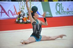 Liubov Charkashyna of Belarus performs with ball during event finals at 2010 Grand Prix Marbella at