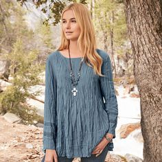"""RIBBON FALLS TUNIC--Our elegant, crinkled, pintuck tunic flatters with lace insets at sleeves and keyhole button back. Rayon. Hand wash. Imported. Exclusive. Sizes XS (2), S (4 to 6), M (8 to 10), L (12 to 14), XL (16). Approx. 26-3/4""""L."""
