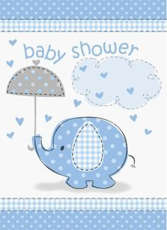 Blue Elephant Baby Shower Invitations