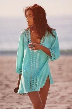 aquamarine crochet trim swimsuit cover-up Beauty And Fashion, Look Fashion, Womens Fashion, Fashion 2017, Fashion Trends, Summer Wear, Spring Summer Fashion, Summer Outfits, Summer 2014