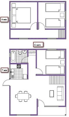 plano de casa de 66m2 dos pisos