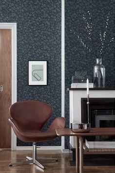 Amorina Teal Leaf Wallpaper from the Scandinavian Designers II Collection by Brewster Green Wallpaper, Burke Decor, Scandinavian Interior, My Living Room, Beautiful Homes, Beautiful Wall, Modern Design, Lounge, Home