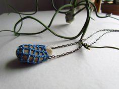 Mineralia No. 2 Indigo Crocheted Necklace hand by littleowlarts, $40.00