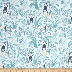 Dear Stella Welcome To The Jungle Monkey Business White from @fabricdotcom  Designed for Dear Stella, this cotton print fabric features adorable jungle creatures and is perfect for quilting, apparel and home decor accents. Colors include white, yellow and shades of blue.