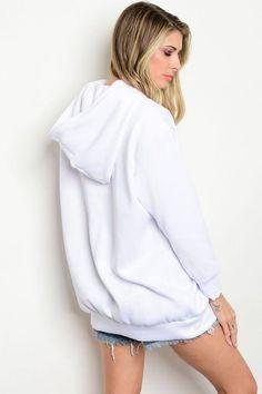 White Boyfriend Hoodie Sweater