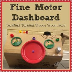 LalyMom Kids Crafts and Activities: Fine Motor Activity Dashboard for Kids - made from recyclables Motor Skills Activities, Infant Activities, Fine Motor Skills, Craft Activities, Airplane Activities, Childcare Activities, Family Activities, Kids Crafts, Crafts To Make
