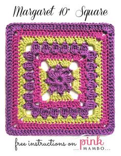 """This fanciful, floral Margaret Crochet Granny Square is the perfect crochet granny square to work into your granny square afghans. This is an easy 10"""" granny square that's quick to work up and uses easy treble cluster stitches to add some texture and visual interest to your work. Work your way through this pattern using gorgeous jewel tones, but feel free to switch it up as this gorgeous pattern will stand out in whatever color or colors you choose. Make this granny square bigger..."""