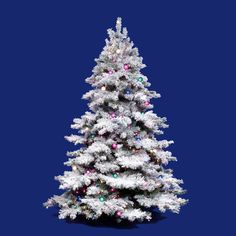 Vickerman Flocked Alaskan White Artificial Christmas Tree with 100 Dura-Lit Multi-Colored Lights 5 Foot Christmas Tree, White Artificial Christmas Tree, Merry Christmas, Flocked Christmas Trees, Christmas Store, Green Christmas, Christmas Holidays, Christmas Decorations, Christmas Ideas