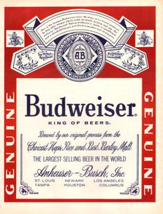 1968 Budweiser King of Beers Label Logo print Ad Red by Vividiom, $9.00