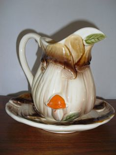 70's mushrooms pitcher and liner by itsagas on Etsy, $9.00