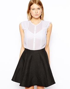 Blouse by ASOS Collection Made from a delicate sheer chiffon. Button through front. Holiday Tops, Sheer Chiffon, Personal Stylist, Skirt Outfits, No Frills, The Row, Fashion Forward, Skater Skirt, Fashion Online