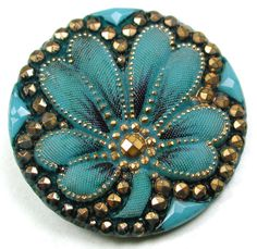 Antique Victorian Glass Button Turquoise w/ 4 Leaf Clover w/ Gold Luster - 1""