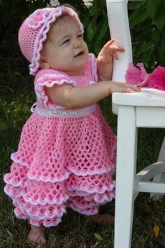 Savannah Ruffled Baby Set Crochet Pattern PDF by MaggiescrochetLink to lots of free patterns on left hand side.@ Melissa Janoski~~ can the Grammy to be whip this up?Easter dress for Soriayah in purple Crochet Girls, Crochet Baby Clothes, Crochet For Kids, Knit Crochet, Crochet Hats, Crochet Dresses, Crochet Designs, Crochet Patterns, Baby Sweaters