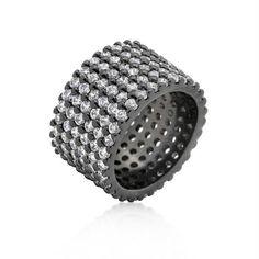 Hematite Wide Pave Cubic Zirconia Ring
