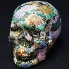 Porcelain skull made in Kutani, Japan.