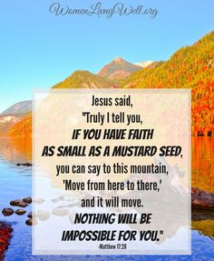 "Have you seen a mustard seed? It is SO tiny! Just a small bit of faith - moves mountains! Whatever mountain you are facing - have faith.  What is faith? Hebrews 11:1 says: ""Now faith is being sure of what we hope for and certain of what we do not see."" It is not the size of our faith but the source of our faith - it is our mighty God who goes before us and does the impossible!"