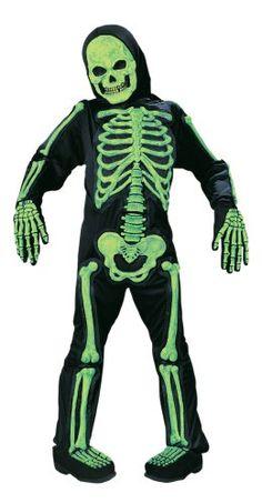 9becd3ae2cf19 Kids Scary Green Bones Skeleton Boy Halloween Costume Medium (8-10) Fun  World