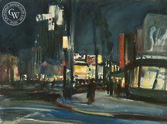 Wilshire Boulevard at Night, watercolor art by artist Emil Kosa Jr. – California Watercolor Watercolor Logo, Watercolor Paper, Watercolor Paintings, Jr Art, California Art, Color Club, Artwork Prints, Giclee Print, Fine Art