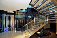 Amazing South African Modern Home Design with Hues: Glamour Cal Kempton Park With Metal Stairs Also Transparent Glass Hedge And Metal Cross . Metal Stairs, Modern Stairs, Railing Design, Staircase Design, Modern House Design, Flat Design, Wood Design, Kempton Park, Home Interior Design