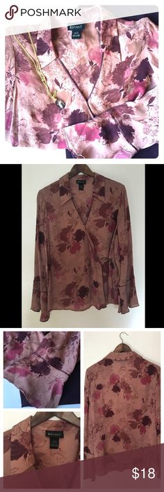 Lane Bryant Wrap Floral Blouse Excellent condition. Wrap top with ribbon tie. The sleeves are flared at the bottom. Size is 14/16 Lane Bryant Tops Blouses