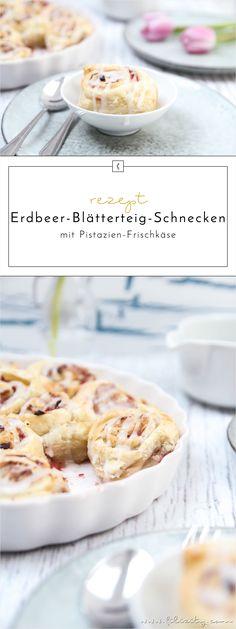 Sommer-Gebäck-Rezept: Erdbeer-Blätterteig-Schnecken mit Pistazien-Frischkäse als schnelles und günstiges Dessert