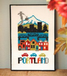 Portland Cross Stitch Pattern – Tiny Modernist Cross Stitch