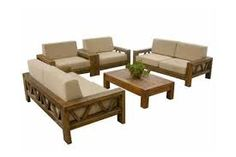 Image result for wooden couch with wicker armchair
