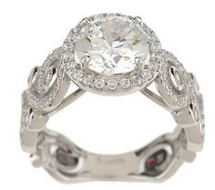 Hidalgo Diamonique Sterling 14K Gold Clad Solitaire Ring