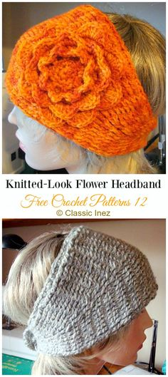 Trending Women Ear Warmer Free Crochet Patterns Knitted-Look Flower Headband Crochet Free Pattern – Trending Women Headband & Free Patterns Crochet Patterns Free Women, Crochet Shoes Pattern, Crochet Mandala Pattern, Crochet Basket Pattern, Crochet Headband Pattern, Knitted Headband, Easy Crochet, Free Crochet, Knit Crochet