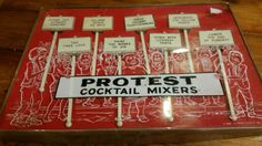 SOLD--These are too funny!! Would be awesome for a party!! Vintage 60s Protest Cocktail Mixers Swizzle by JandGspecialty