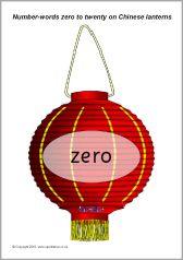 Number words zero to twenty on Chinese lanterns (SB594) - SparkleBox