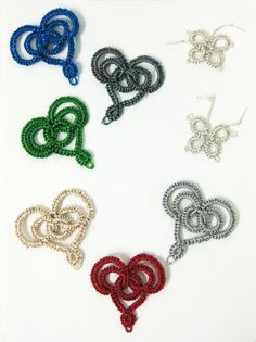 6 needle tatted hearts with Dazzle using a pattern by Rachel Jackson. The butterflies are shuttle tatted with Dazzle
