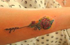 agape / rose tattoo / watercolor effect #philippines http://www.facebook.com/marian.lacanilao.tattoo