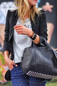 new york state of mind-leopard jeans zara-tshirt weekday-zara spike blazer