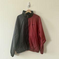 Vintage Nike Windbreaker Light Full Zip Big Swoosh White Tag Mens XL Red  Black  fashion 09d7fa063