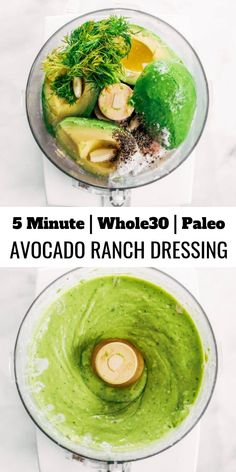 5 Minute Avocado Ranch Dressing paleo ranch dressing made with avocados instead of oil! Easy five minute ranch dressing. This dairy free ranch dressing can be used as a salad dressing, veggie dip, or spread for sandwiches and burgers. Avocado Ranch Dressing, Paleo Ranch Dressing, Salad Dressing Recipes, Salad Dressings, Sugar Free Ranch Dressing, Whole30 Salad Dressing, Gluten Free Salad Dressing, Oil Free Salad Dressing, Dairy Free Salads