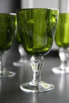 Eco Recycled Glass Wine Goblets - Set of 4 - Green
