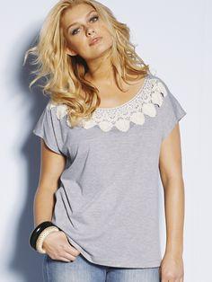 So Fabulous Crochet Neck Trim T-shirt £22