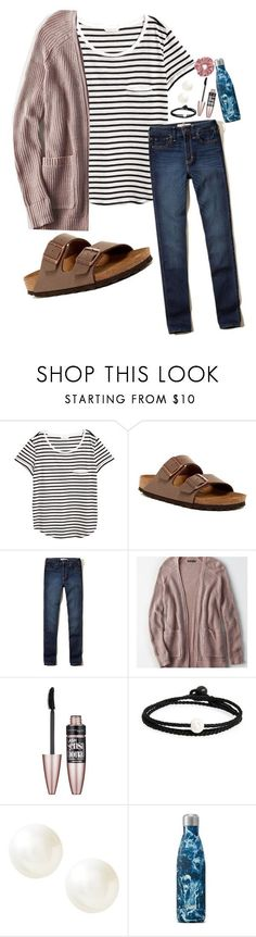 """Untitled #5"" by chelleybeans ❤ liked on Polyvore featuring H&M, Birkenstock, Hollister Co., American Eagle Outfitters, Maybelline, Lokai and Banana Republic #americaneagleoutfitters"